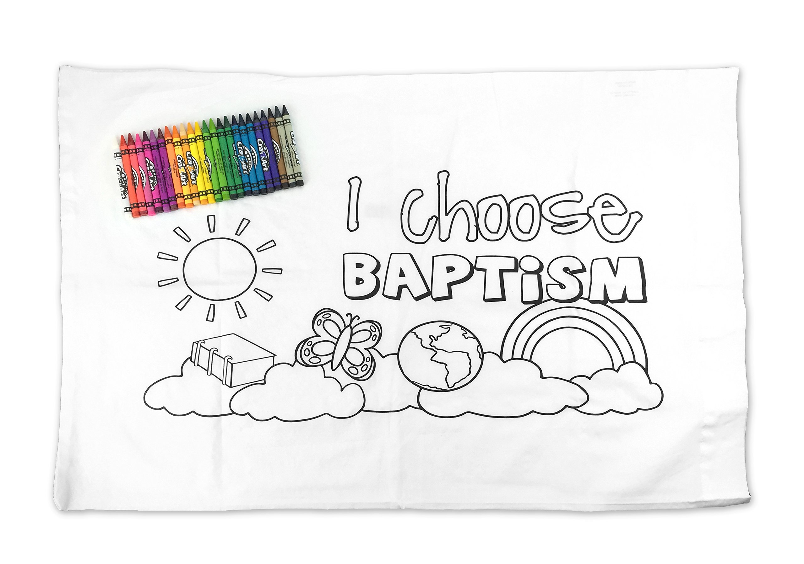 LDS Kid's Baptism Pillowcase - Color Your Own - ''I Choose Baptism'' - Includes 24 Crayons - 29''x19''