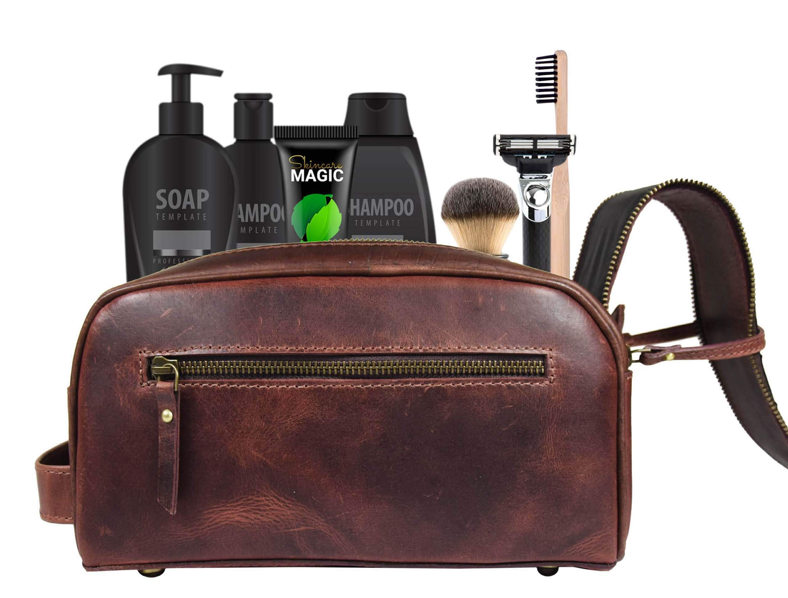 Leather Toiletry Bag for Men | Grooming Travel Kit | By Aaron Leather (Walnut - Dual Zipper) by AARON LEATHER GOODS VENDIMIA ESTILO (Image #5)