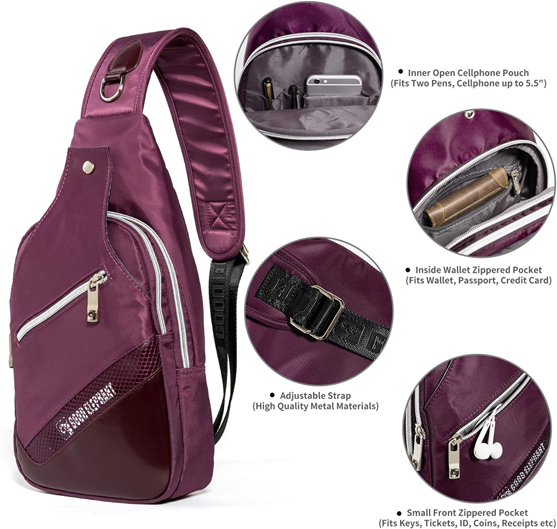 Sling Backpack Crossbody Shoulder Bag Warerproof Chest Daypack for Travel Hiking
