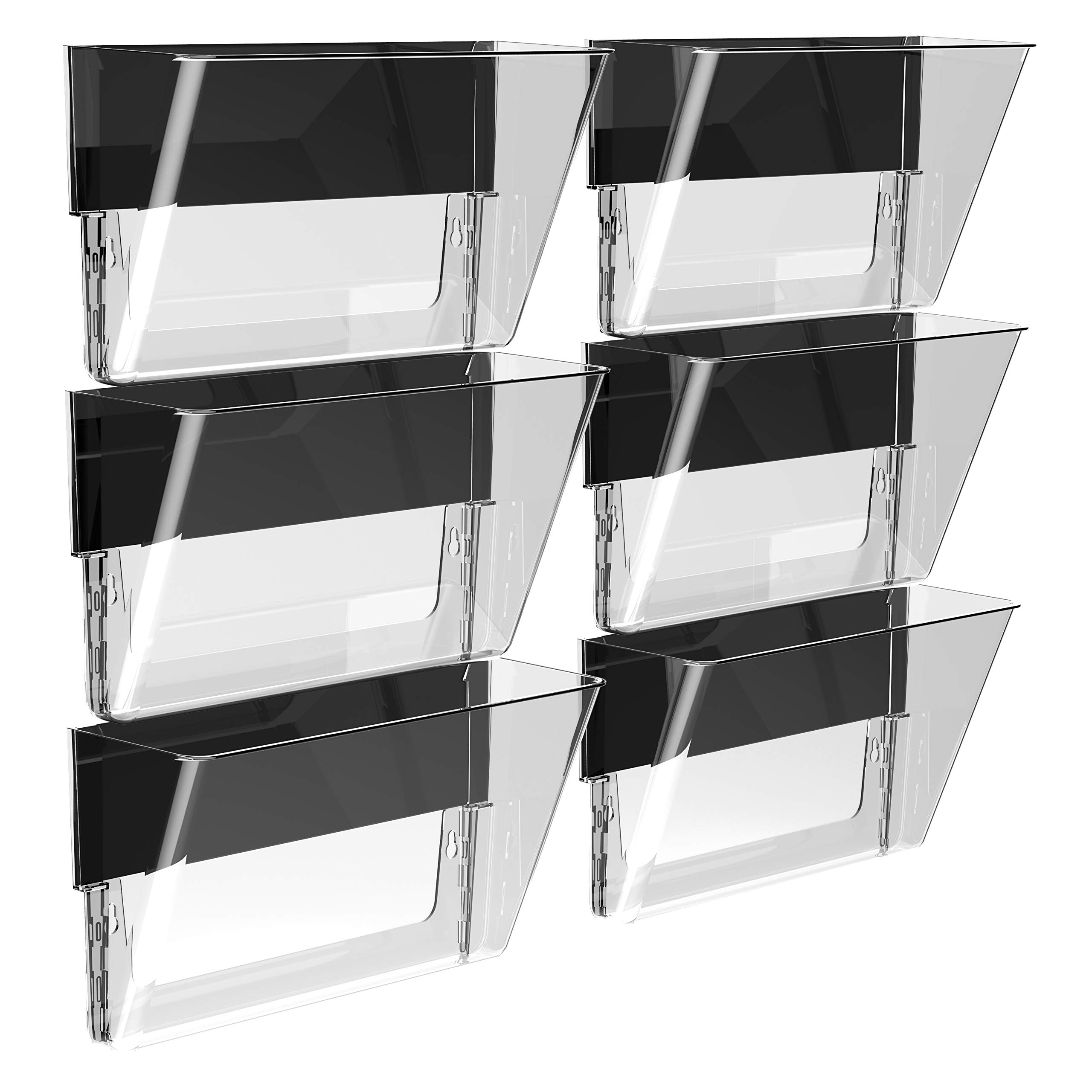 Storex 70236B06C Magnetic Wall Pocket, Letter Size, Clear (Pack of 6) by Storex