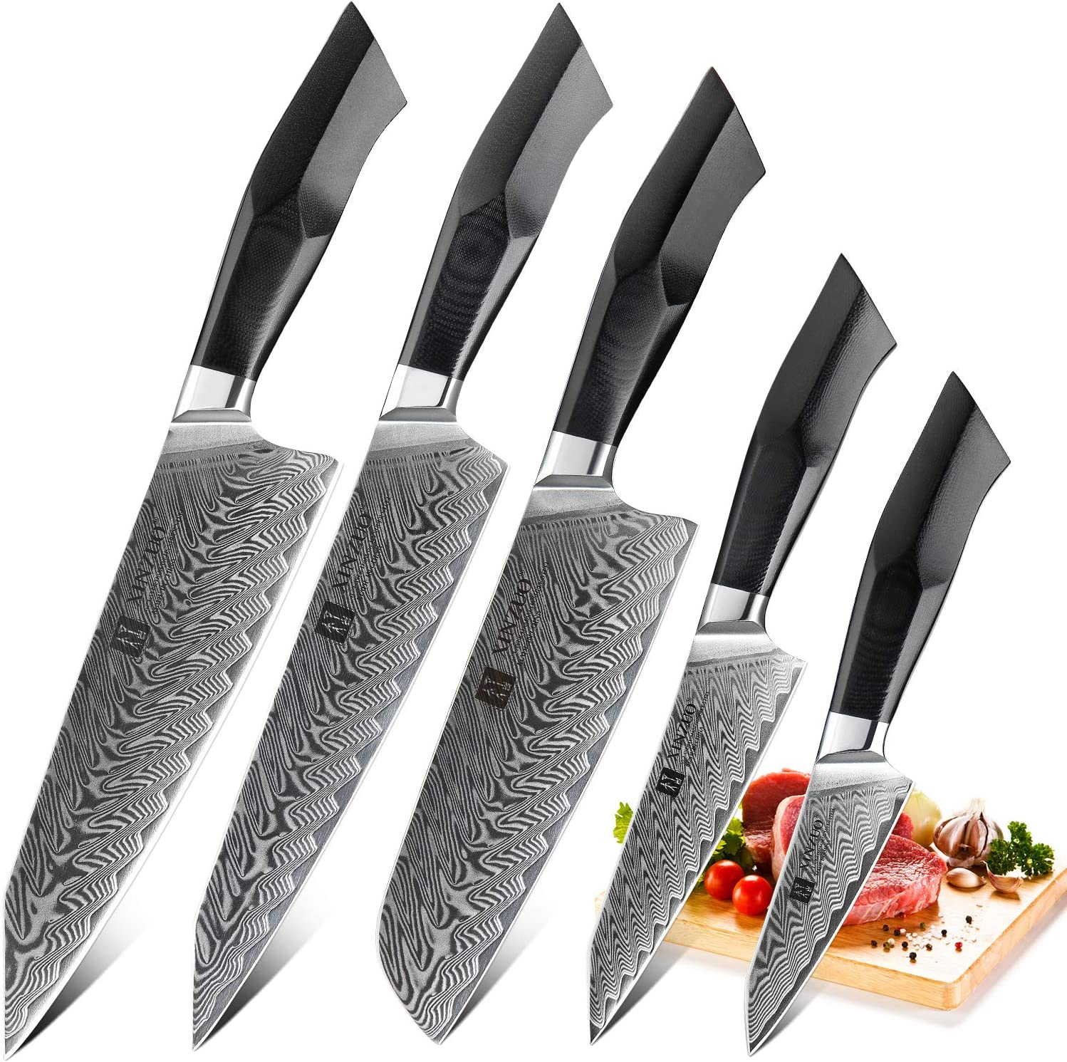 XINZUO Damascus Steel 5Pcs Kitchen Knife Set, Professional Japanese Style Knives, High Carbon Steel Sharp Chef Santoku Slicing Knife Utility Paring Knife, Military Grade G10 Handle -Feng Series