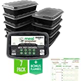 Meal Prepster Meal Prep Containers (1 Compartment) - Reusable Microwavable BPA Free - Plastic Food Safe Storage Container Lunch Boxes (28 OZ) (Black / Clear lid) + 5 Printable Planners! (7 pack)