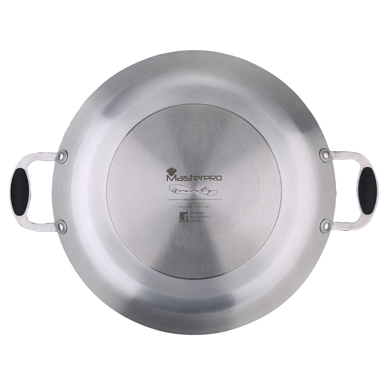 MasterPro Paellera 36x3.7 cm Aluminio prensado Apta para inducción Gravity, Negro, 36 cm