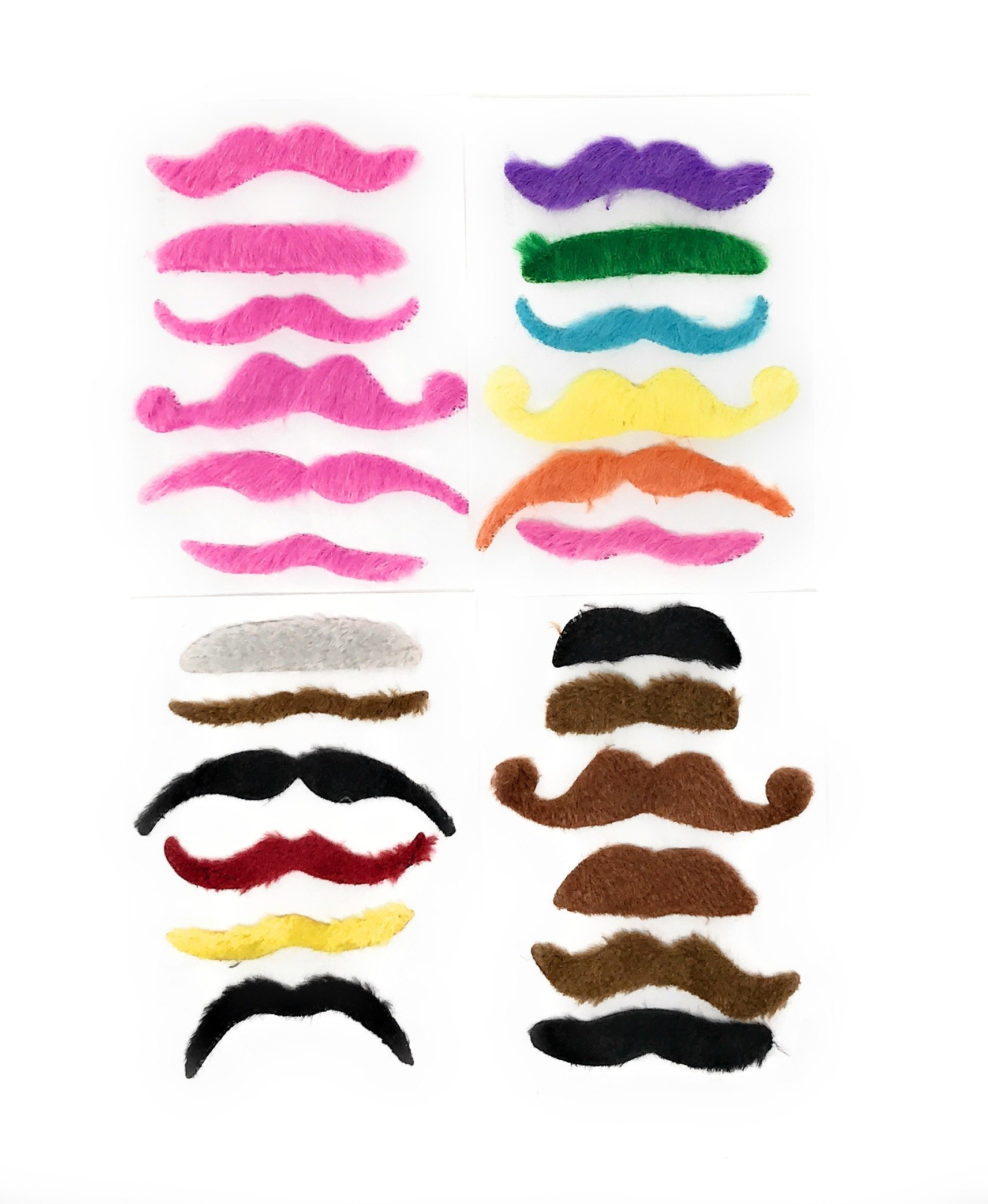 Sea View Treasures 36 Bulk Fake Costume Mustache Assortment (Pink, Brown, Black, Green, Blonde)