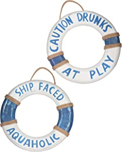 "Tiki Bar Hut,14"" x 2 PCS Hand Carved Buoy Cute Lifesaver Rings ""Ship Faced Aquaholic"" & ""Caution Drunks at Play"", Sign Pool Decorations Outdoor, Beautiful Beach Décor Life Ring, Hand Carved Lifesaver"
