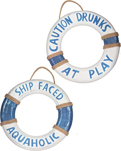 Tiki Bar Hut,14 x 2 PCS Hand Carved Buoy Cute Lifesaver Rings Ship Faced Aquaholic Caution Drunks at Play , Sign Pool Decorations Outdoor, Beautiful Beach D cor Life Ring, Hand Carved Lifesaver