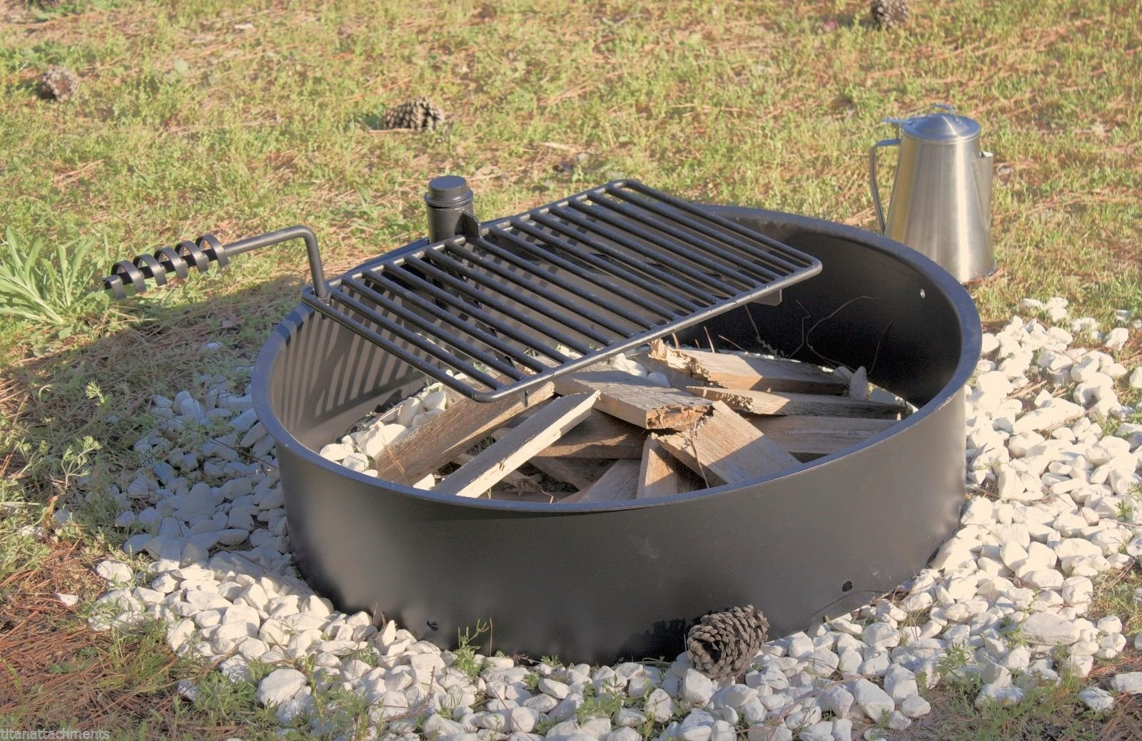36'' Steel Fire Ring with Cooking Grate Campfire Pit Park Grill BBQ Camping Trail by Titan Outdoors (Image #7)