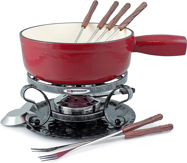 Swissmar Lugano 2 Quart Cast Iron Cheese Fondue Set 9 Piece Cherry Red Kitchen Dining