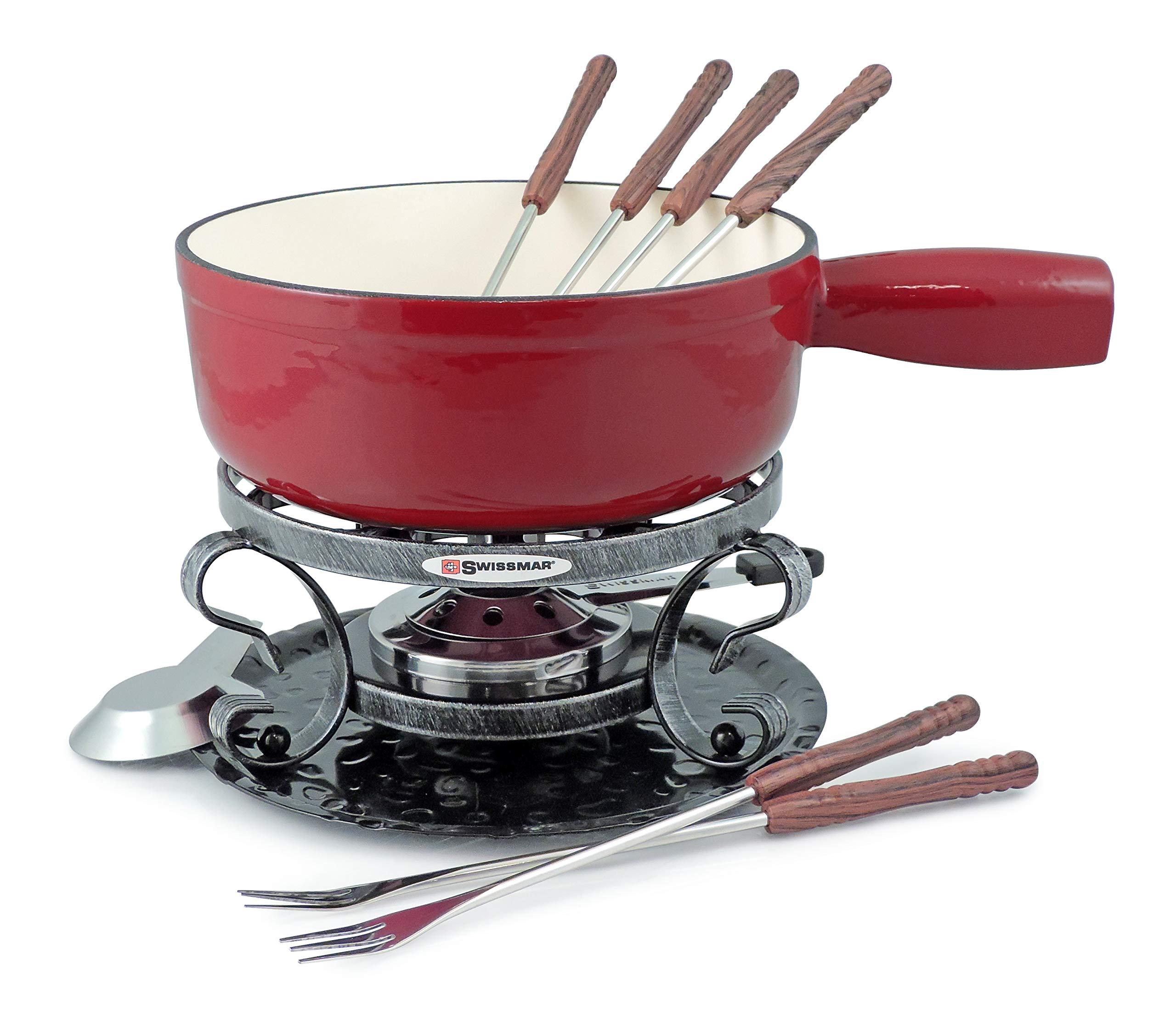 Swissmar KF-66517 Lugano 2-Quart Cast Iron Cheese Fondue Set, 9-Piece, Cherry Red by Swissmar