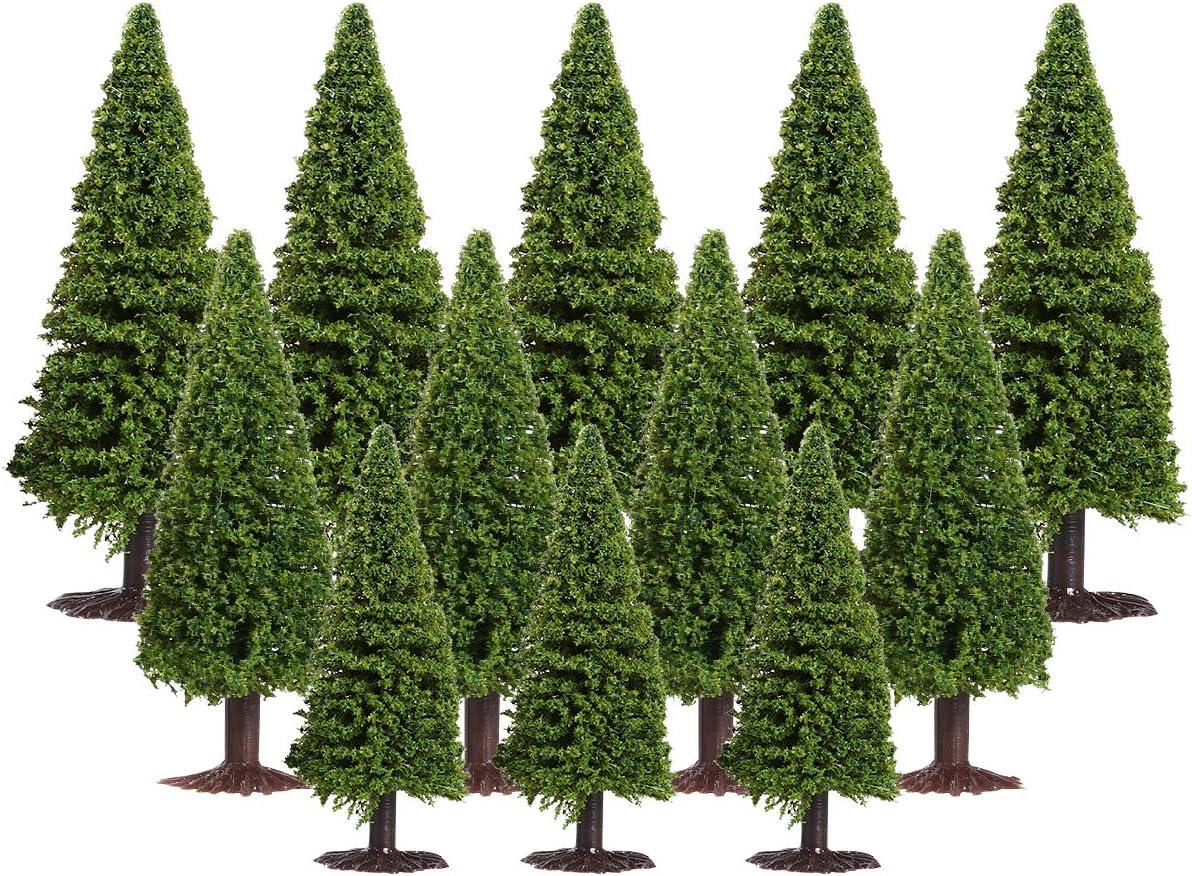 Landscape Tree Model, Green Scenery Landscape Model Cedar Trees, 15pcs