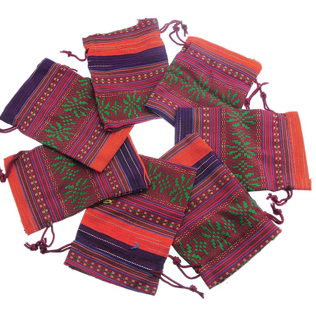 Souarts Multicolore Sachets Cadeau Bijoux avec Motif Ethnique Lot de 10pcs
