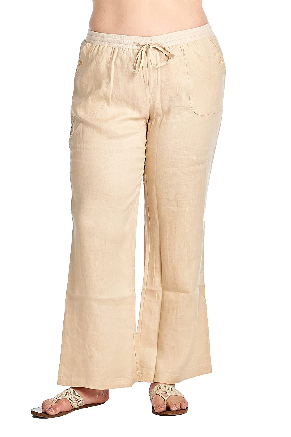 High Style Womens Plus Size Wide Leg 100 Linen Pants With