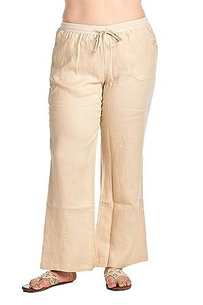 77a46b61077 High Style Women s Plus Size Wide Leg 100% Linen Pants with Drawstring  Detail (002A P