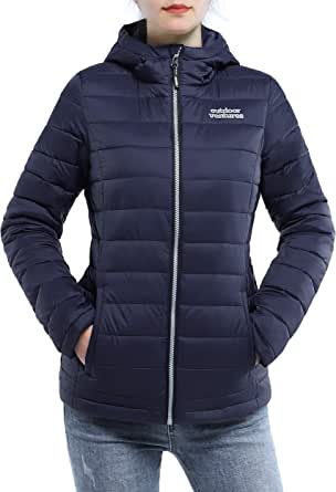 Outdoor Ventures Womens Maryan Hooded Ultra Lightweight Warm Thermolite Long Puffer Coat