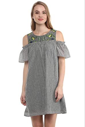1c1897548bfb53 THE VANCA Grey Cold Shoulder Tunic Dress with Multicolor Embroidered TOP:  Amazon.in: Clothing & Accessories