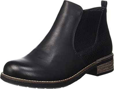 Rieker Womens Eaton Black Zip Chelsea Boots 94680 00