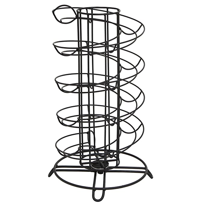 Modern Spiral Design Kitchen Counter-Top Black Metal Egg Skelter//Storage Organizer Rack for Eggs MyGift COMINHKPR110491