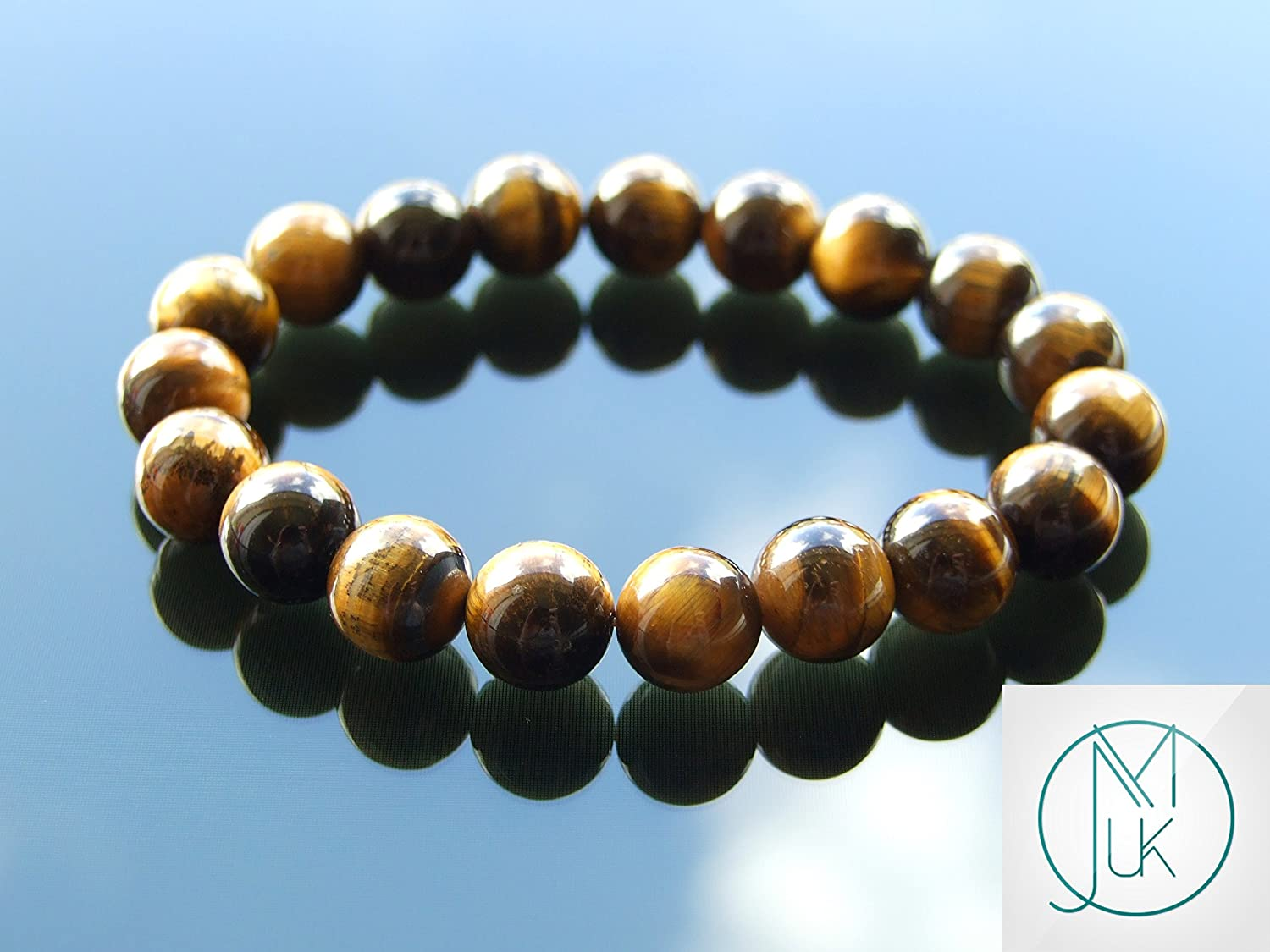Yellow Tigers Eye 10mm Natural Gemstone Bracelet Beaded 6-9 Elasticated Healing Stone Chakra Reiki With Pouch FREE UK SHIPPING