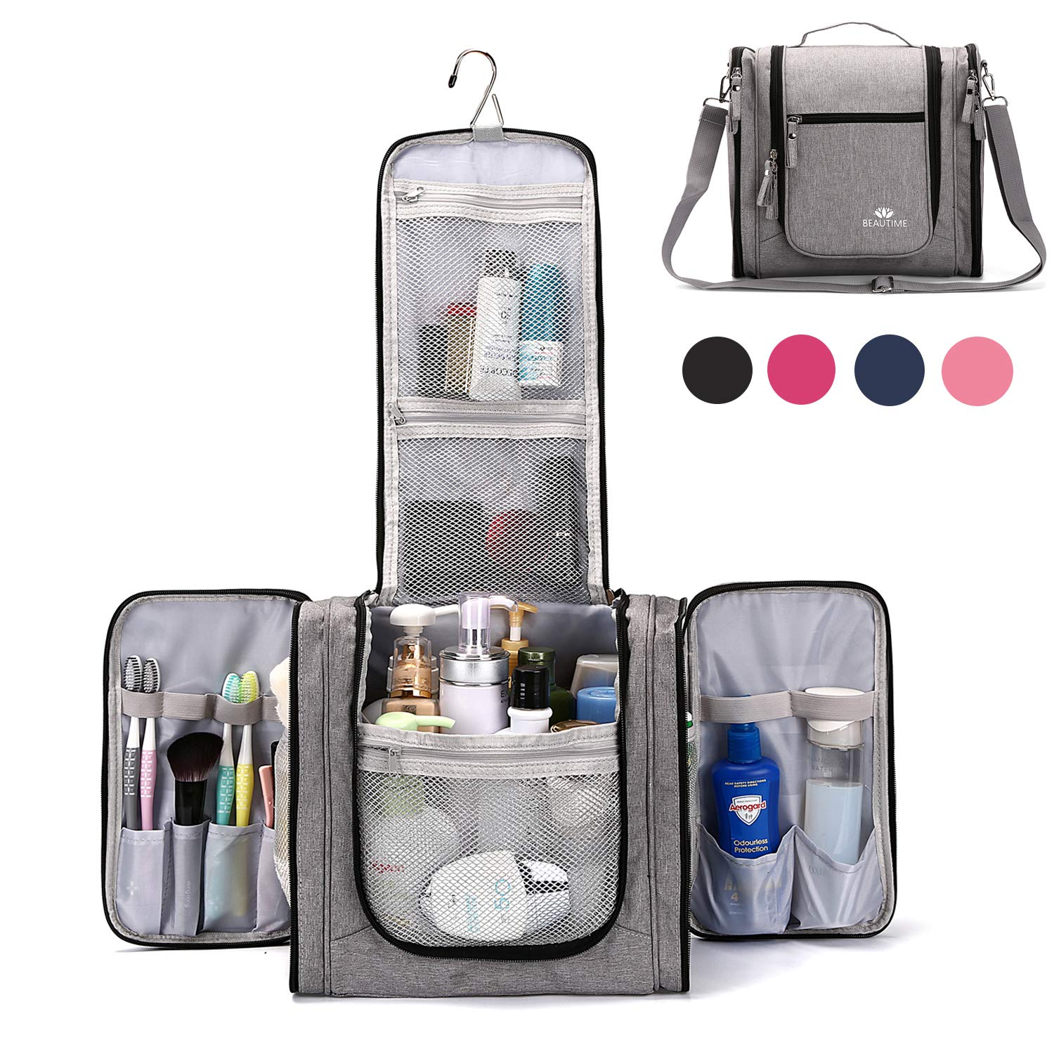 Large Hanging Travel Toiletry Bag for Men and Women Waterproof Makeup Organizer Bags wash bag Shaving Kit Cosmetic Bag for Accessories, Shampoo,Bathroom Shower, Personal Items Grey/Black by BEAUTIME
