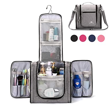 Large Hanging Travel Toiletry Bag for Men and Women Waterproof Makeup Organizer Bags washbagShaving Kit Cosmetic Bag for Accessories, Shampoo,Bathroom Shower, Personal Items Grey/Black