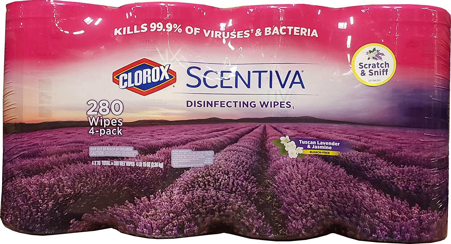 Clorox Clorox Scentiva Disinfecting Wipes (4 X 70Count Net 280 Wipes), 280Count, White