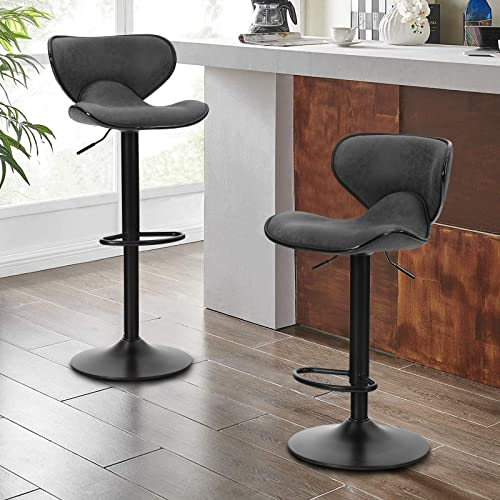 Sophia William Counter Height Bar Stool Set of 2 Adjustable Swivel Barstools PU Leather Kitchen Counter Bar Chairs Supports 350lb