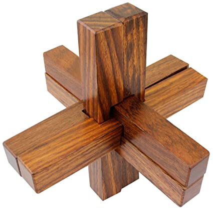 SKAVIJ 6 Piece Handcrafted Wooden Interlocking Block Toy Puzzles 4x4x4 Inches Brown