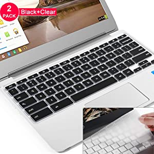 "Lapogy Keyboard Cover for ASUS Chromebook Flip C434TA-DSM4T 2-in-1 Laptop 14"" Touchscreen,C434 Keyboard Protector Skin,for C434TA/C425TA/C433TA,ASUS C434TA Accessories(Clear) Black+TPU"