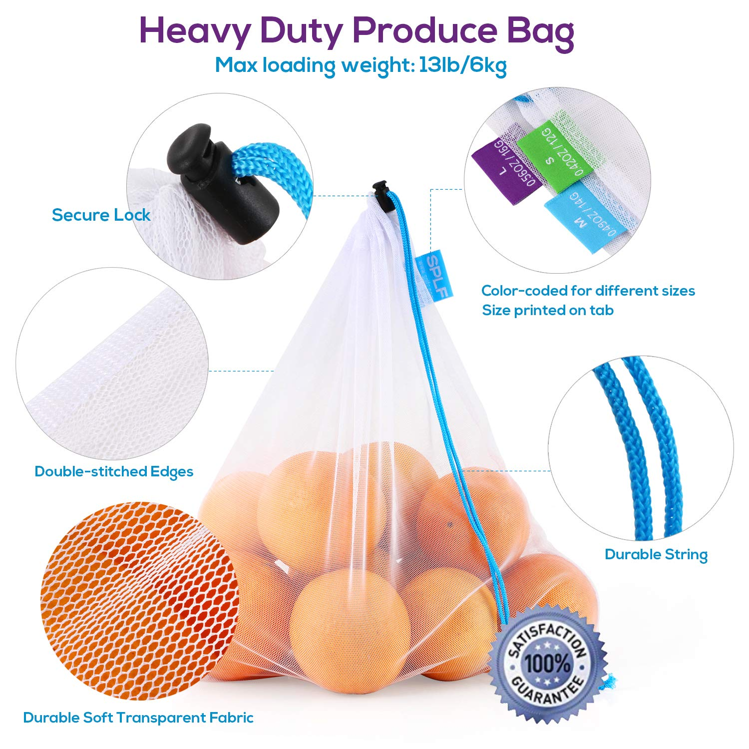 SPLF 12 Pcs Heavy Duty Reusable Mesh Produce Bags, Barcode Scanable See Through Food Safe Mesh Bags with Drawstring for Fruits, Vegetable, Food, Toys, Grocery Storage, Large Medium Small by SPLF (Image #4)