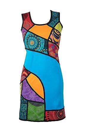 riesige Auswahl an 09751 dd7ca Ausgefallenes Sommerkleid mit bunten Ethno Muster in Patchwork Design –  Hippie Chic – 100% Baumwolle - AIKO