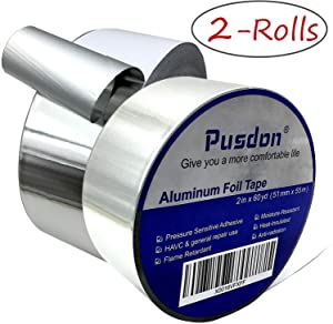 Aluminum Tape/Aluminum Foil Tape - 2 Rolls, Each 2 Inch x 60 Yards (51mm x 55m) Professional HVAC Tape