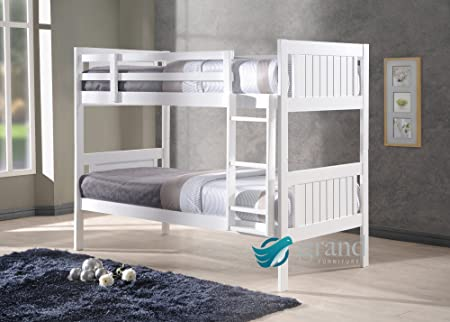 New Milan Wooden Kids Bunk Bed White Shaker Style Modern Childrens ...