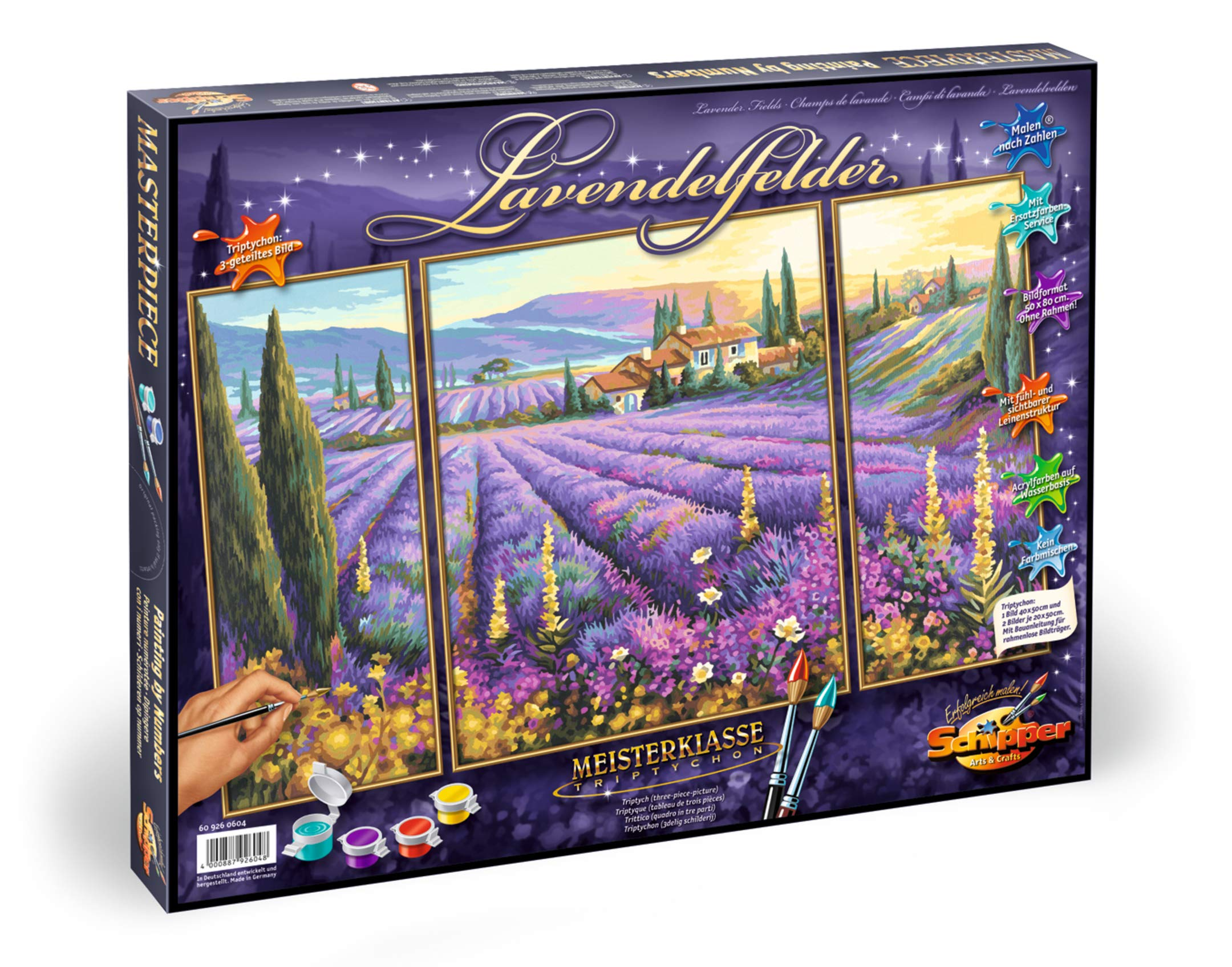 Norris Paint by#S: Lavender Fields (Tryptych) Paint by# by Norris