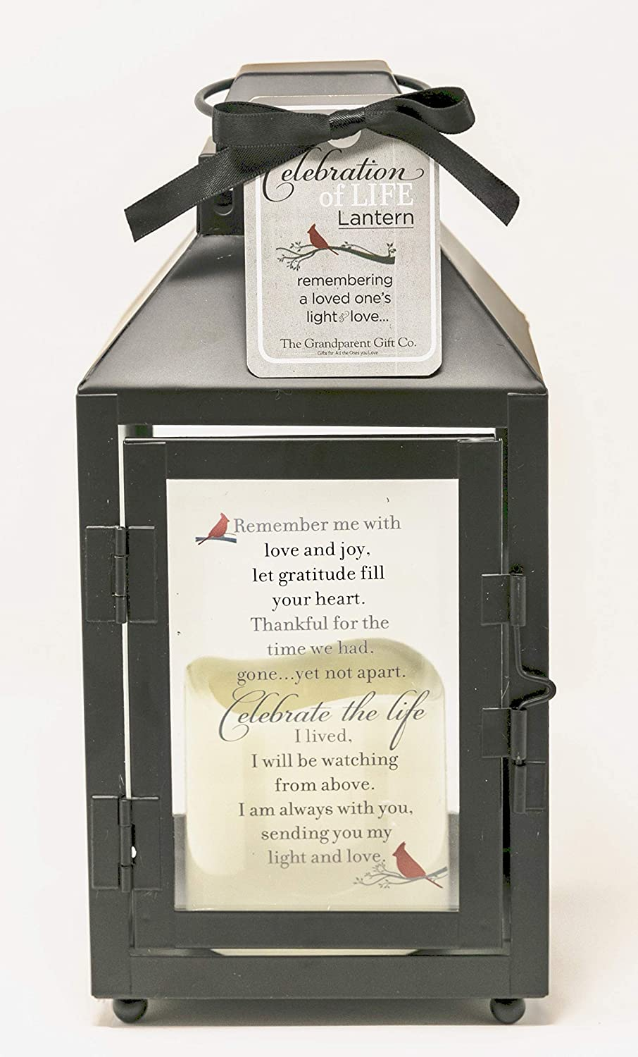 Celebration of Life Memorial Lantern with Flickering LED Candle-Thoughtful Bereavement/Sympathy Gift for Loss of Loved One (Black)