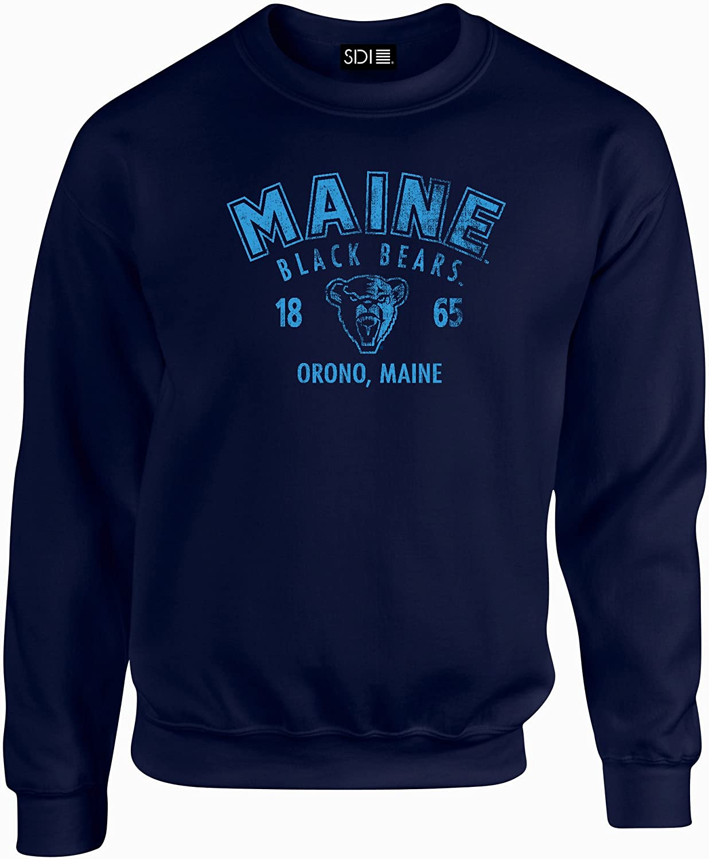 Navy Maine Black Bears Arch 50//50 Blended 8 oz Crewneck Sweatshirt 3X