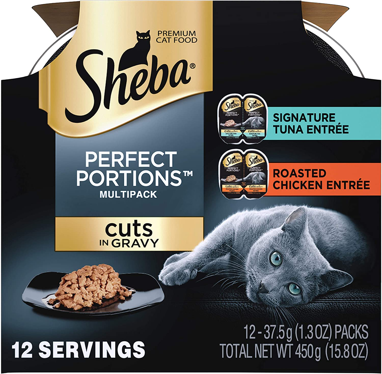 Sheba Perfect Portions Multipack Cuts in Gravy, Signature Tuna Entree, Roasted Chicken Entree (12- Individual Serving) (3-Double Trays of Each)