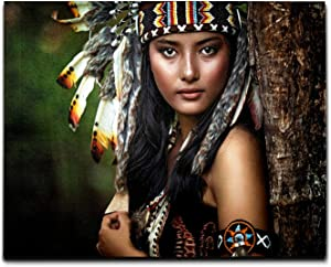 J.COXLOD Native American Woman Indian Girl Canvas Wall Art Painting, 20x16 Inch Wooden Inner-Framed Wall Decor, Artwork for Man&Woman's Bedroom Livingroom Office