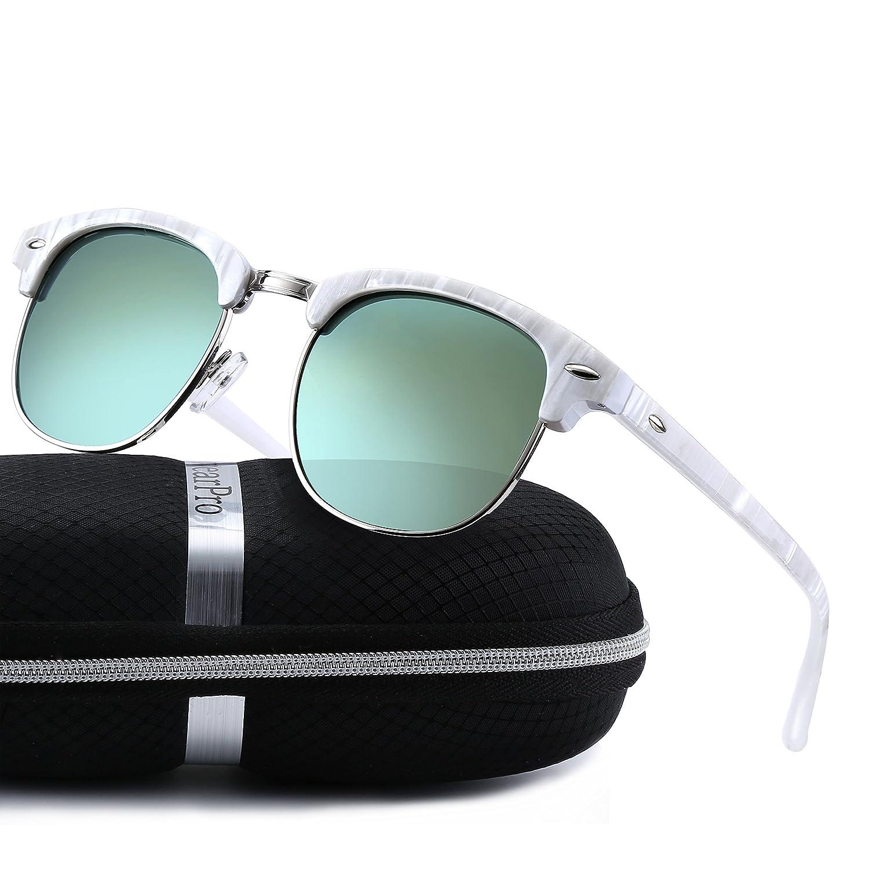 Clubmaster Sunglasses for Men Women - wearpro Retro Semi-Rimless Polarized Sun Glasses WP1006 2.09)