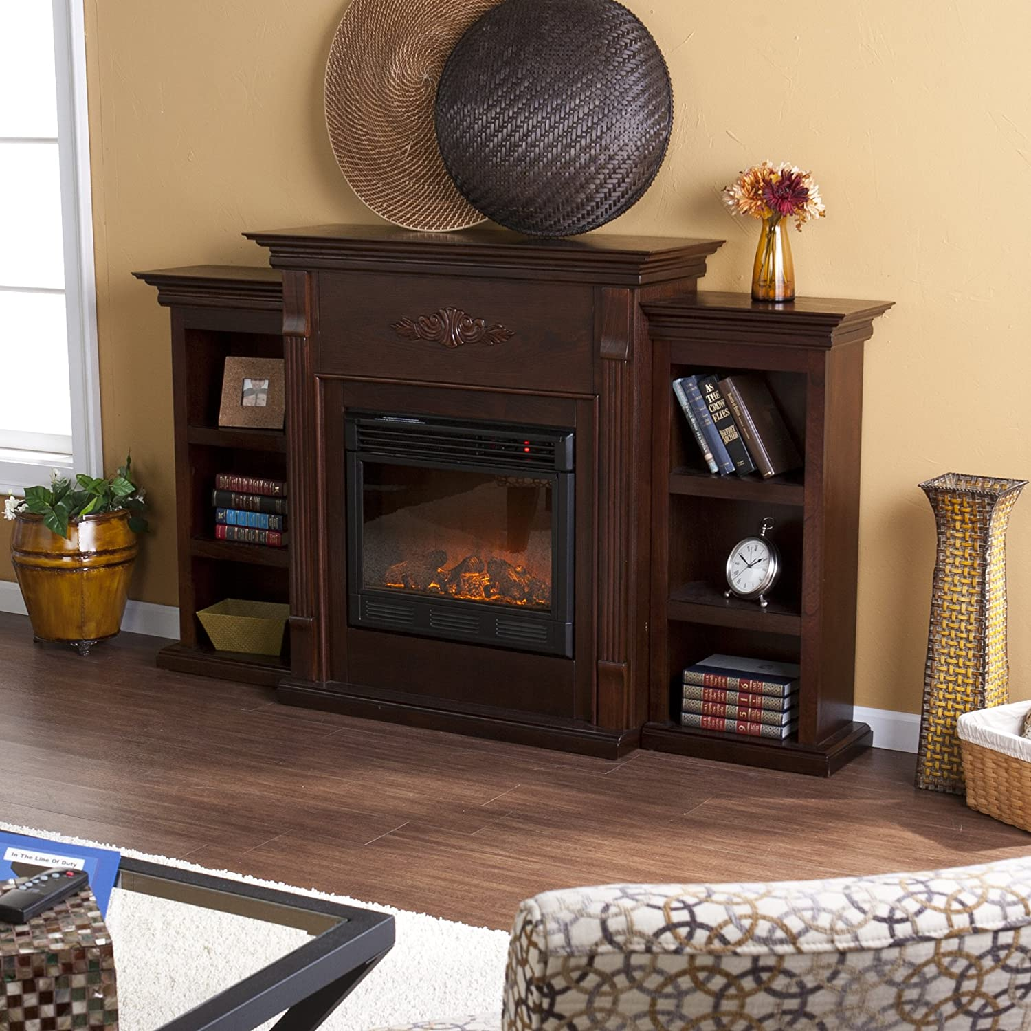 Amazon.com: SEI Tennyson Electric Fireplace with Bookcases ...