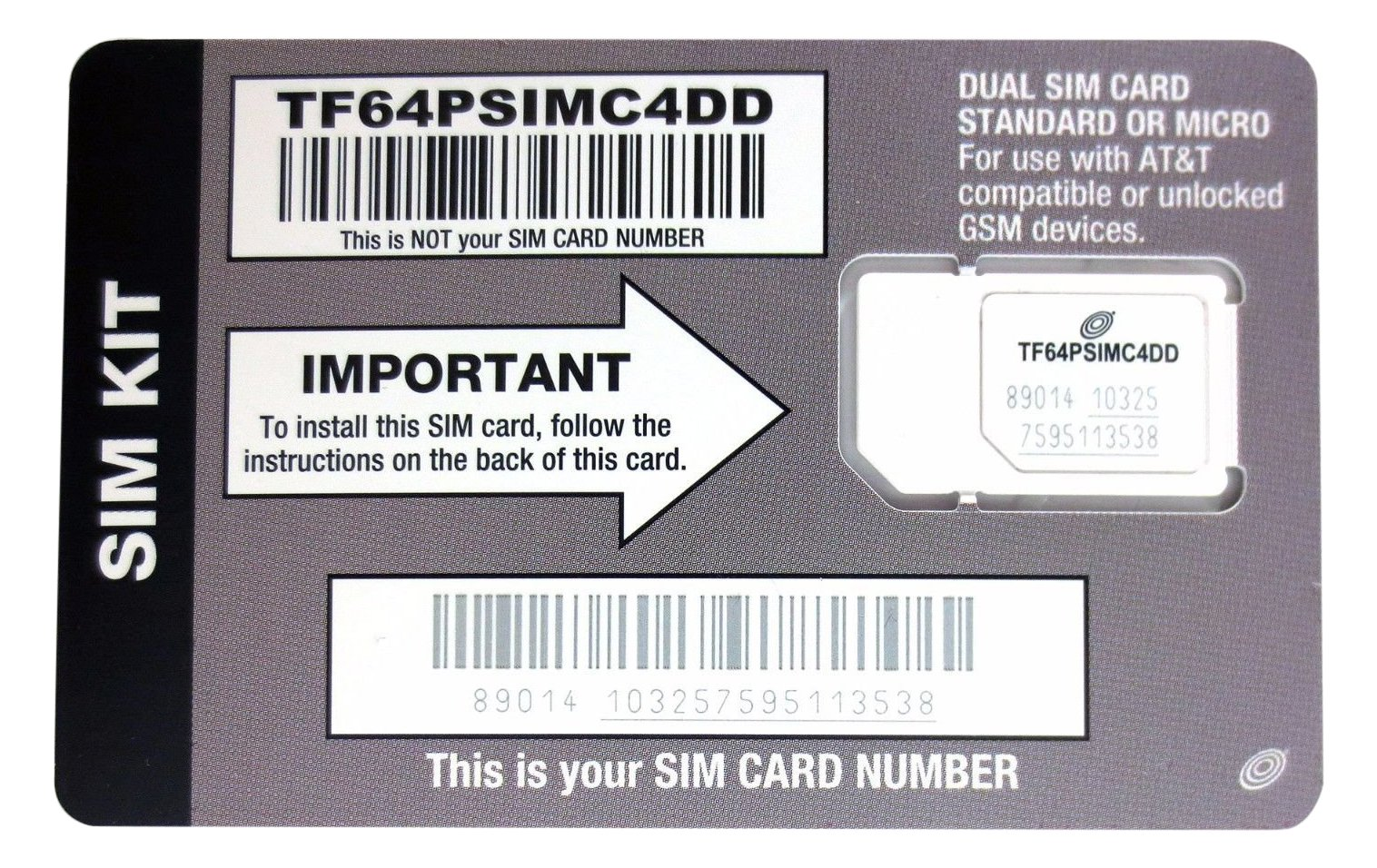 Straight Talk AT&T Compatible SIM card for AT&T phone or Unlocked GSM Phone  including iPhone 3 & 4 Samsung Galaxy S3, S4, S5 Galaxy Note 2 3 & 4 and