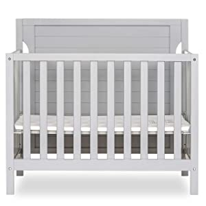 Dream On Me Bellport 4 in 1 Convertible Mini/Portable Crib I Mini Baby Crib I Includes 1.5 Mattress, Pebble Grey