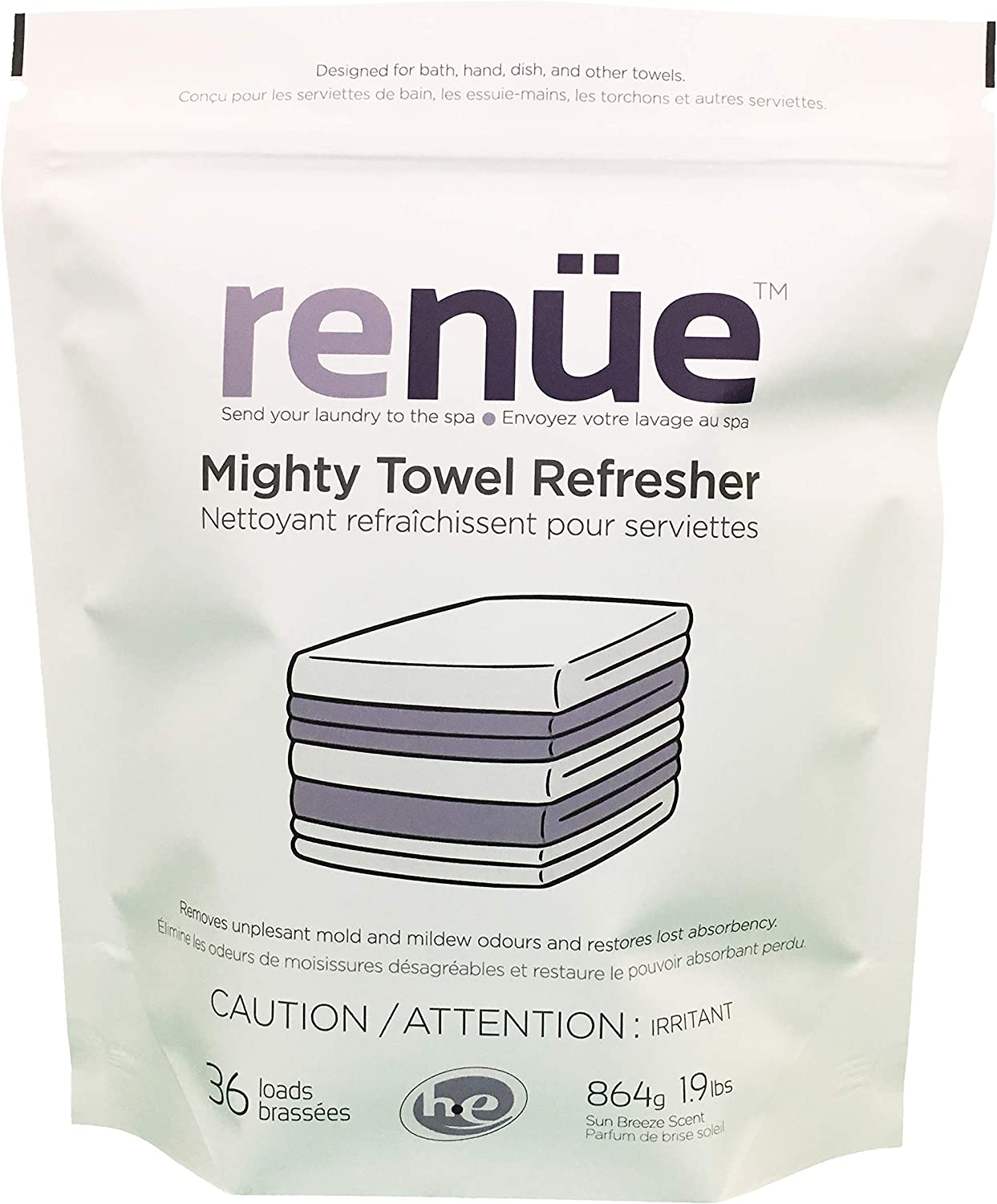 RENUE Mighty Towel Refresher - Sun Breeze - 36 Loads - Powerful Odour Removing Laundry Detergent/Towel Wash for Bath, Dish and Hand Towels