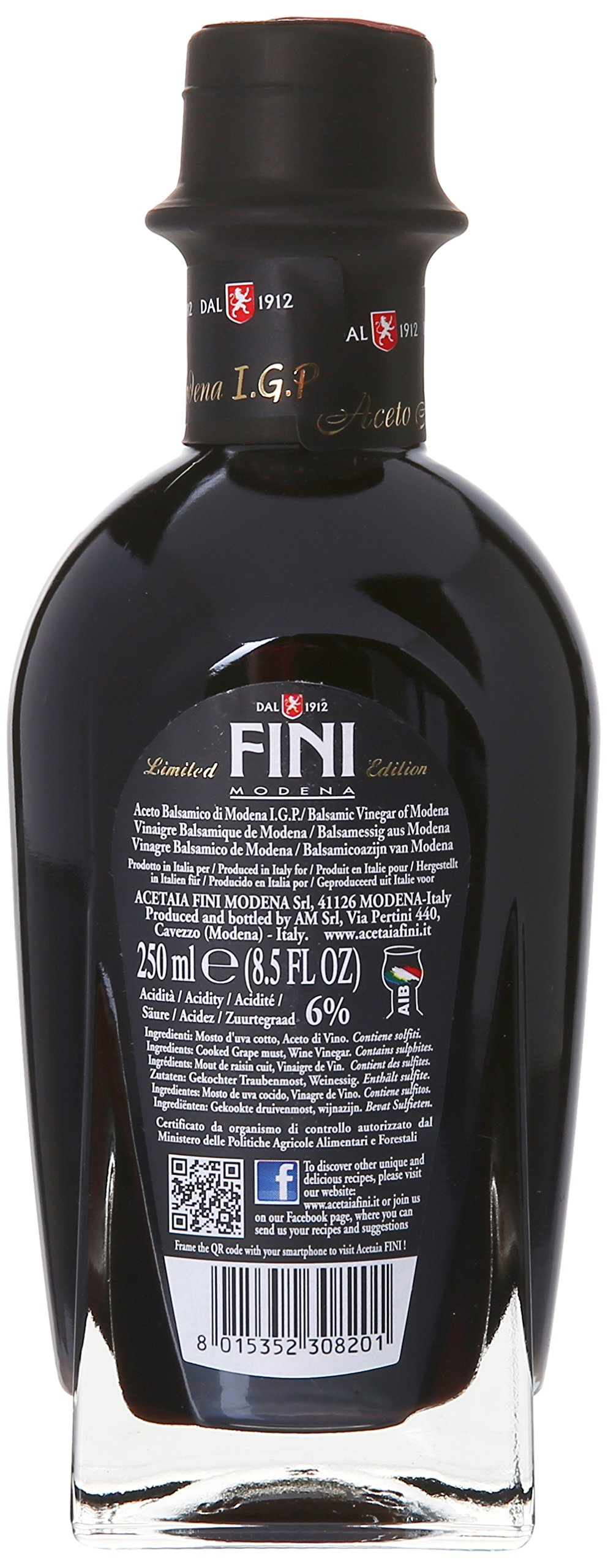 Fini Balsamic Vinegar Gift Box, 250 Mililiter 2 Limited addition bottle of Fini Balsamic Vinegar of Modena in a stylish gift box Makes for a unique and flavorful contribution to salad dressings or your favorite Italian dishes Perfect gift for the foodie in your life