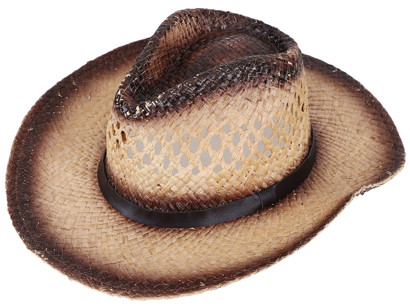 TAUT Unisex Woven Straw Cowboy Ranch Hat with Shapeable Brim Belt_Chestnut