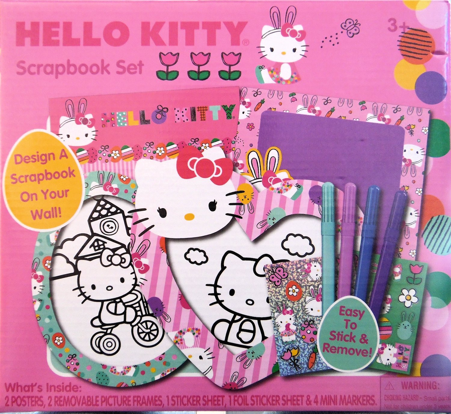Hello Kitty Scrapbook Kit Craft Project with Posters, Frames, Stickers and Markers