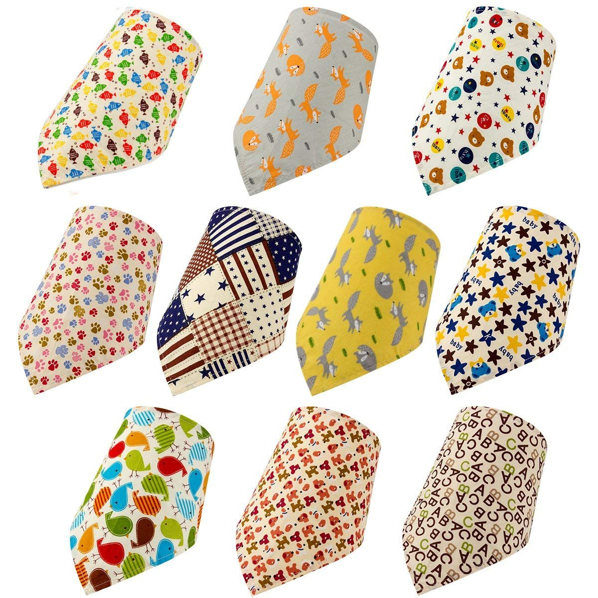 MEWTOGO 10 Pack Dog Bandanas - Washable and Reversible Triangle Cotton Dog Bibs Scarf Assortment Suitable for Puppy Small and Medium Pet