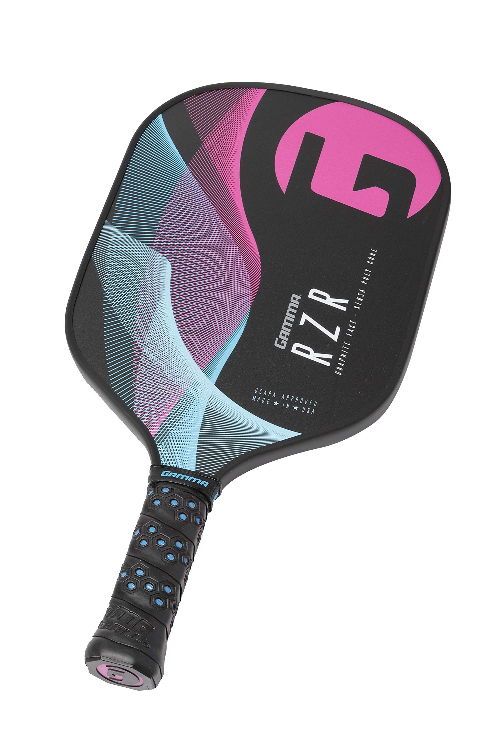 Gamma RZR Composite Pickleball Paddle: Pickle Ball Paddles for Indoor & Outdoor Play - USAPA Approved Racquet for Adults & Kids - Pink/Blue by Gamma (Image #4)