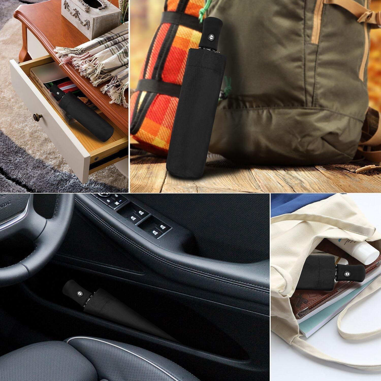 Windproof Mini Small Compact 8 Ribs Automatic Sun /& Rain Umbrella Gift Choice Black Fits Men /& Women AIKELIDA Travel Umbrella