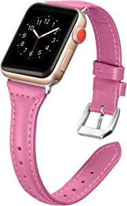 Secbolt Leather Bands Compatible Apple Watch Band 42mm 44mm Slim Replacement Wristband Sport Strap for Iwatch Series 5 4 3 2 1 Stainless Steel Buckle