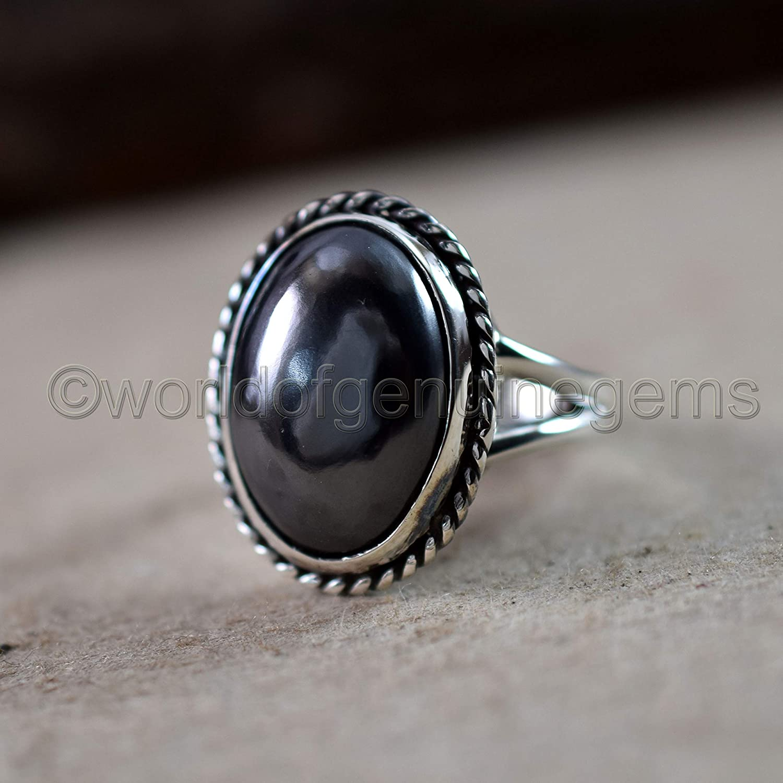 Hematite; 5 12 Vintage Sterling Silver 925 Long Oval Hematite Ring